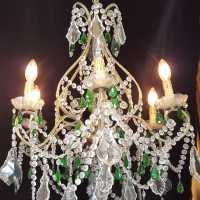 Golden chandelier 6 lights with white and green pendants XXth