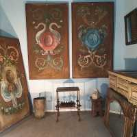 Three large painted panels 19th