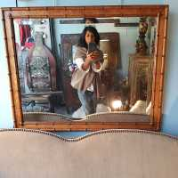 19th century faux bamboo mirror.