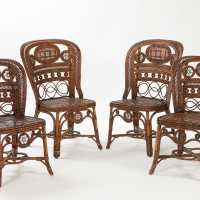 4 rattan chairs - Perret & Vibert, France, late 19th century