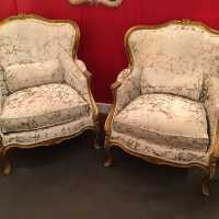 Pair of red armchairs red 1900 gilded wood