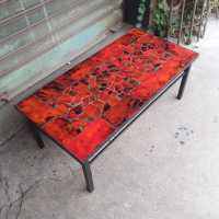 Red ceramic coffee table