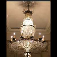 Glass and gilt bronze chandelier