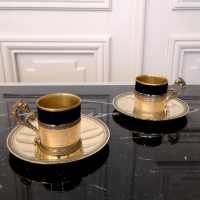 Maison C. Villard Broliquier and Rodet, Vermeil and porcelain coffee cups