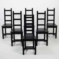Set of 6 Sven Larsson chairs black wood suede 1980
