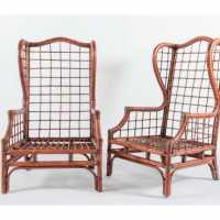 pair of rattan armchairs