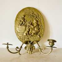 "Oval bronze wall lamp ""Bouquet to love"""