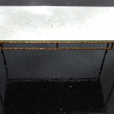 1950 70 Coffee Table Maison Charles Top In Oxyded Gilted Mirror
