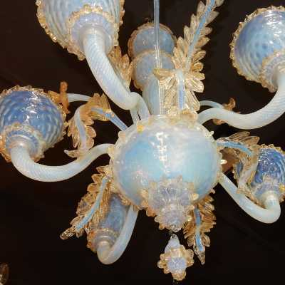 1950 'Murano Chandelier Opalescent Blue With Gold Inclusions 5 Arms Of Light