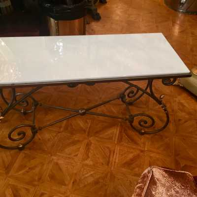 1930 brass and opaline coffee table