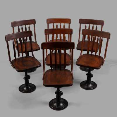 Set of 7 adjustable height office chairs, c. 1895