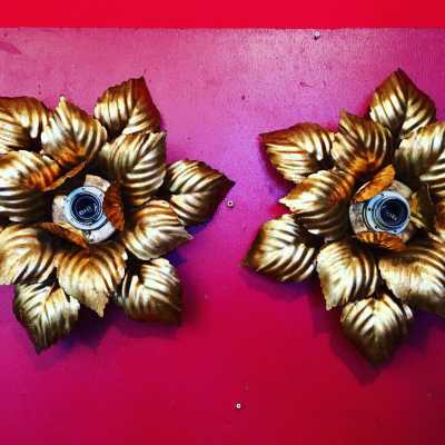 pair of gold plated iron sconces