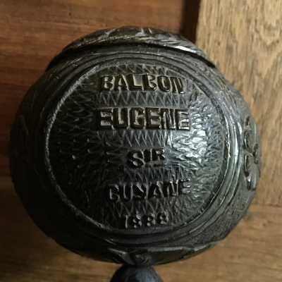 "In the form of a ciborium, patronymic and dated: ""Balbon Eugene Sir Guyana 1888"""