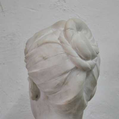 Marble woman bust, signed Boucher