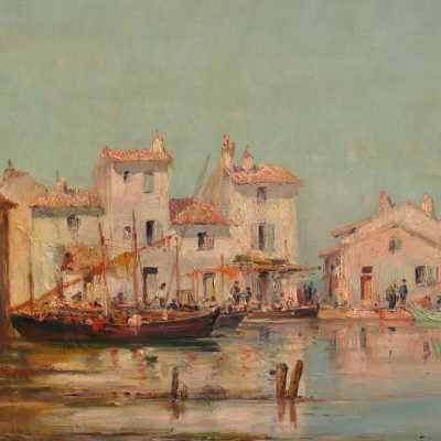 View of Martigues Oil on canvas signed Godchaux