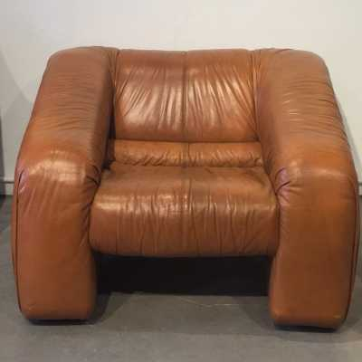 armchair piumino-Depas-1970 leather-gold