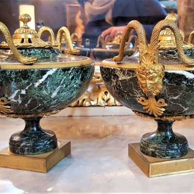 Pair of marble and bronze urns, 19th century
