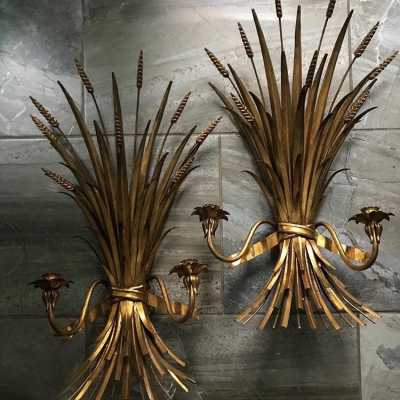 pair wall light golden wood wood gold iron pair light fixture