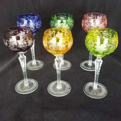 6 colored bohemian crystal wine glasses