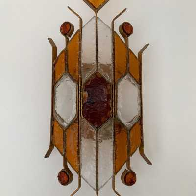 sconce wrought iron hammered glass biancardi jordan arte poliarte italy 1970