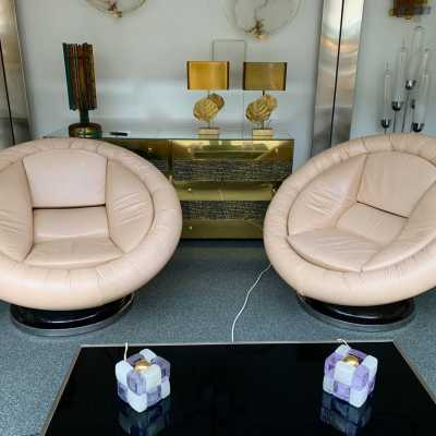 Saporiti leather armchairs italy 1970 space age