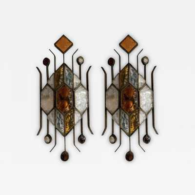 sconces pair glass wrought iron gilded longobard poliarte italy 1970