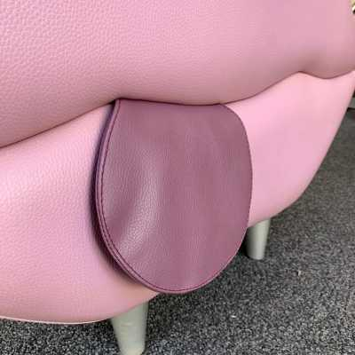 stool pouf mouth leather italy 1980 1990