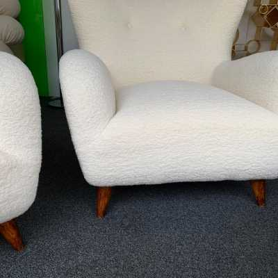 armchairs in curly wood melchiorre bega italy 1950 1960