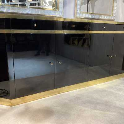 Black lacquered brass jc Mahé sideboard 4 doors 4 money boxes