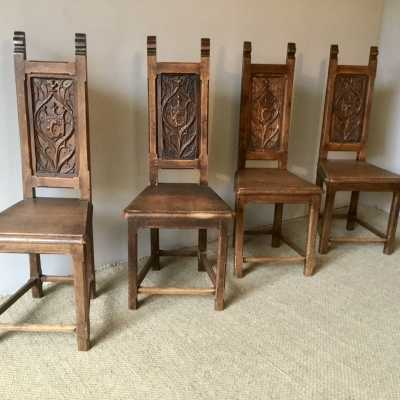 4 neo-Gothic oak chairs