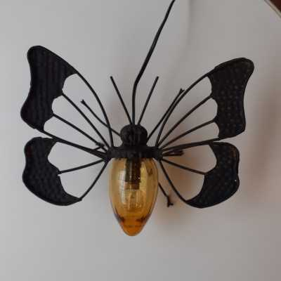 Butterfly wall lamp in metal and blown glass