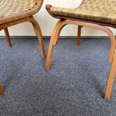 pair of rattan wooden stools giuseppe pagano italy 1950 1960