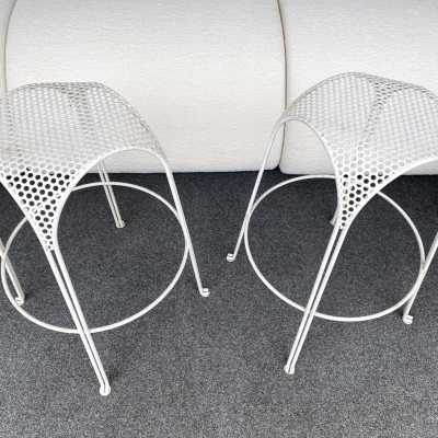 Enamelled perforated metal bar stools mathieu matégot maurizio tempestini italy 1950