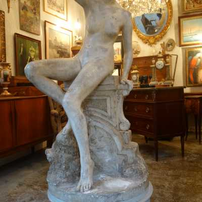 """Young woman on a balustrade"", plaster, signed F.Brou (1862-1926), 1905"