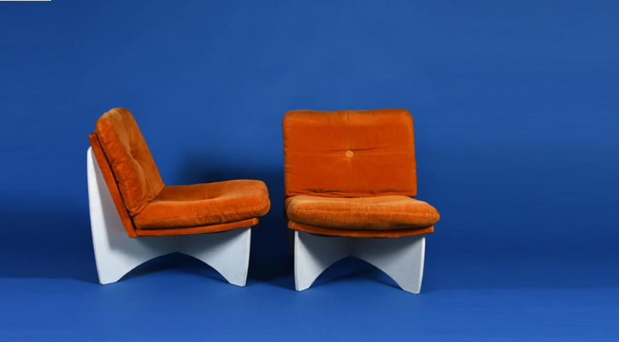 Pair of 70's velvet armchairs