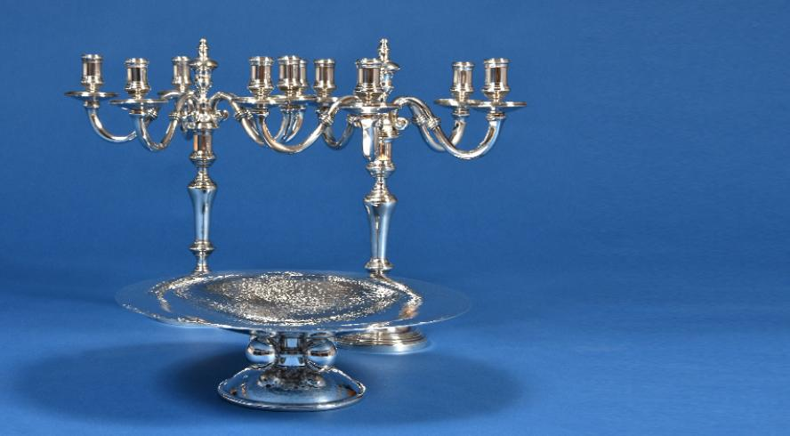 Pair of candelabra in silvered bronze from Maison Christofle