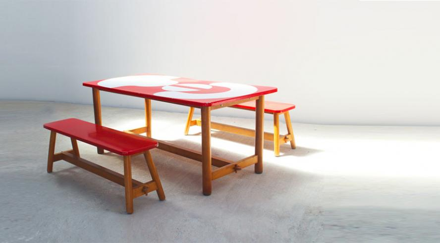Jacques Tissinier Table and two benches set Prisunic Collection 1972